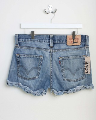 LEVI VINTAGE High Waisted Blue Plait Detail Shorts - In Love With Fashion