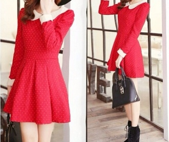 dress red dress peter pan collar dress ulzzang cute outfits fashion cute kawaii cute dress kawaii outfit stylish long sleeve dress korean fashion korean style black hat black bowler hat cute hat