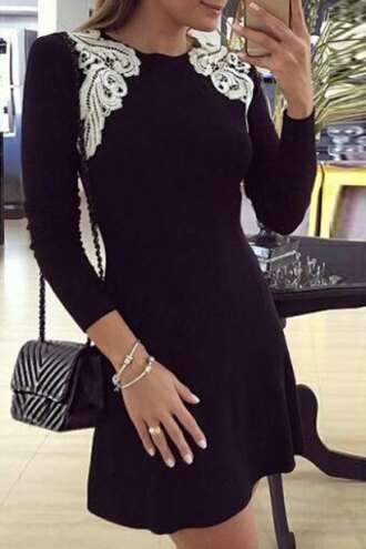 dress lace black white long sleeves stylish round collar long sleeve patch lace design dress for women trendy cool girly feminine skater dress