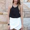White shorts - white asymmetric layerd front skort   ustrendy