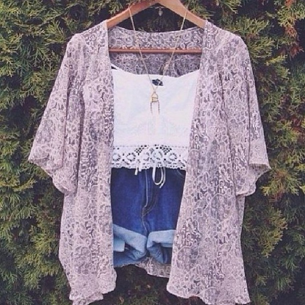 shorts jacket cardigan lace top kimono lilac purple fashion summer outfits blouse sweat boho flowrer top music festival white crop tops shirt t-shirt tank top necklace pink coat lace kimono