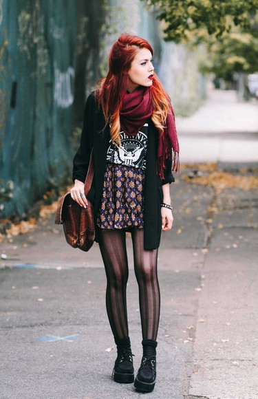 tights blogger le happy t-shirt scarf creepers blazer high waisted skirt