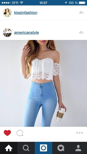 top jeans off the shoulder summer outfits cute top cute outfits outfit spring outfits style fashion high waisted jeans high waisted white top blue jeans light blue jeans necklace skinny jeans pants tank top lace white boho bohemian hippie crop tops cute festival blouse fabric lace top shirt