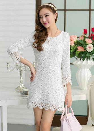 Free shipping fashion women clothes 2014 spring new Korean Slim lace knee-length dress wholesalers | Amazing Shoes UK