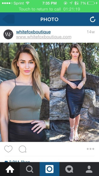 top crop tops army green dressy