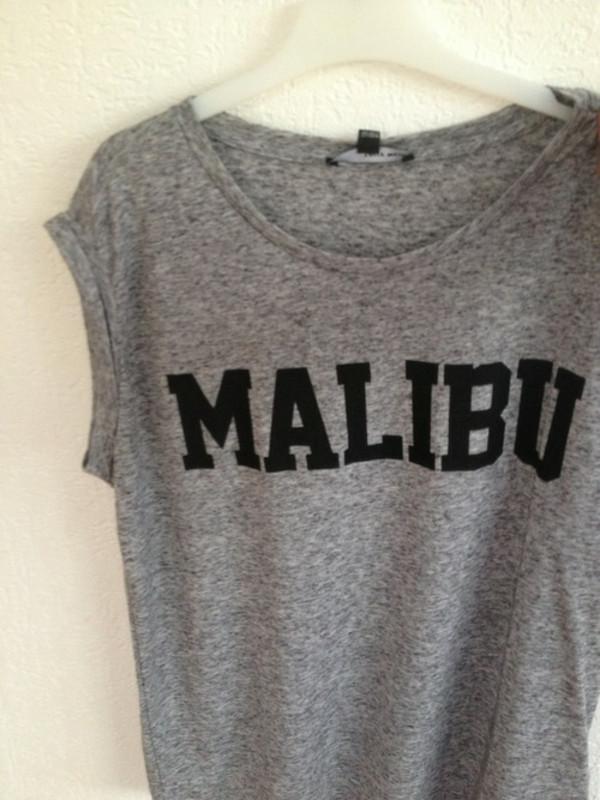 shirt grey t-shirt malibu t-shirt