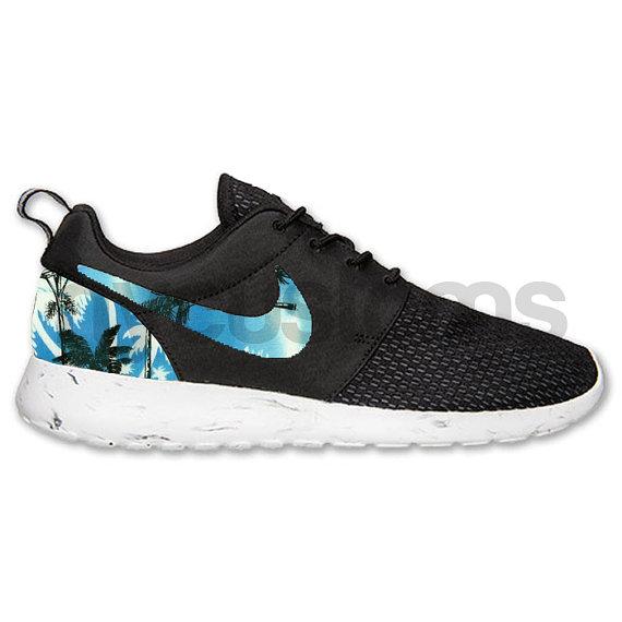 Nike Roshe Run schwarz weißen Marmor blau Palm Tree von NYCustoms