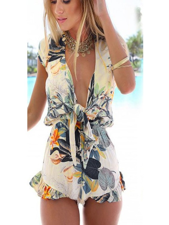 Summer Digital Printed Jumpsuit V-neck Beach Lacing Siamese Shorts - WSDear.com