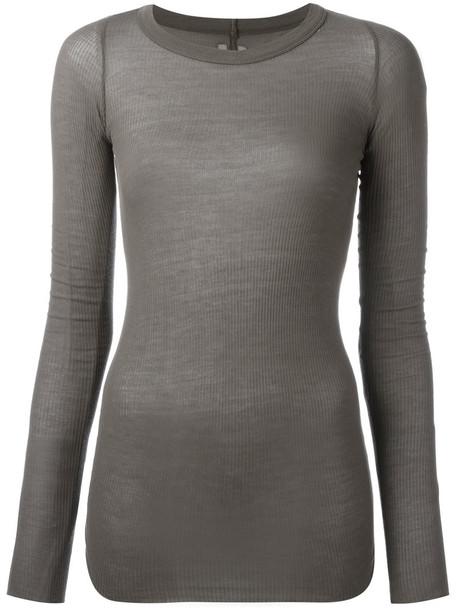 Rick Owens - ribbed T-shirt - women - Silk/Viscose - 42, Green, Silk/Viscose