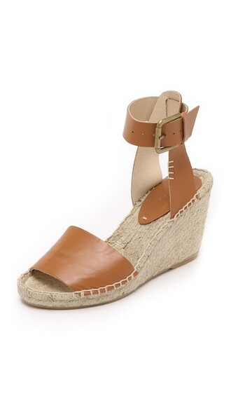 open tan espadrilles leather shoes