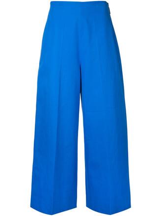 cropped women cotton blue pants