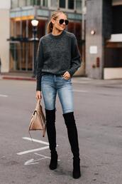 fashionjackson,blogger,sweater,jeans,shoes,bag,sunglasses,fall outfits,thigh high boots,over the knee,grey sweater,handbag,knit,knitwear,boots