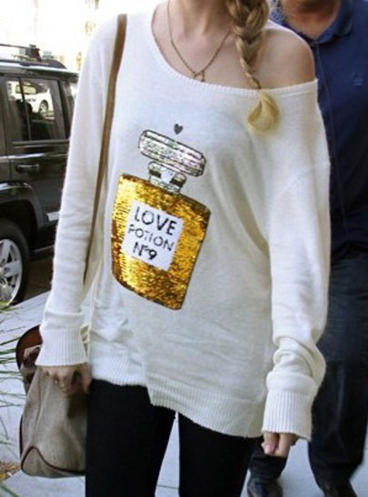 White Long Sleeve Wildfox No 9 Perfume Sequined Sweater - Sheinside.com