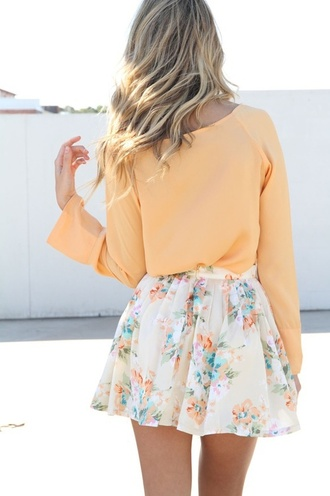 skirt floral skirt outfit orange summer outfits spring outfits pastel