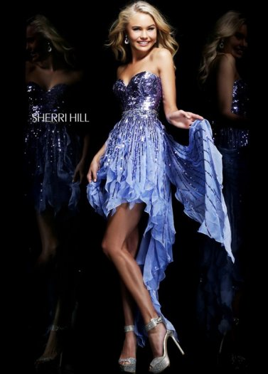 Sherri Hill 1922 Blue Sequined Flirty High to Low Prom Dress [Sherri Hill 1922 Blue] - $229.00 : Prom Dresses 2014 Sale, 70% off Dresses for Prom