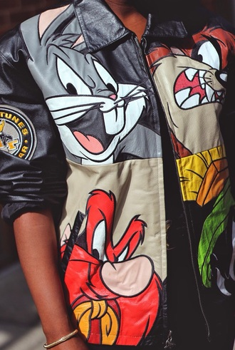 jacket black cartoon looney toons leather jacket coat 90s jacket costom