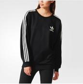 sweater,adidas,black,white,adidas sweater,adidas shirt,black and white,sweatshirt,top,black sweater