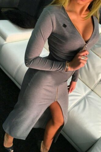 dress grey long sleeves slit dress sexy v-neck long sleeve solid color high slit bodycon maxi dress for women v neck dress casual fall outfits zip rosegal dec rosegal-dec