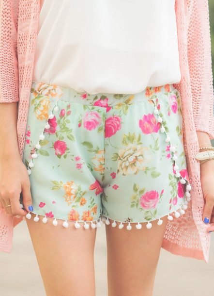 Shorts: cute, floral, pom pom shorts - Wheretoget