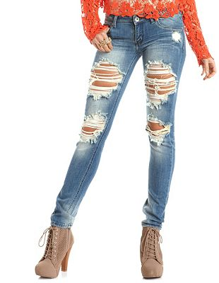 Jeans Destroyed Skinny Jean: Charlotte Russe