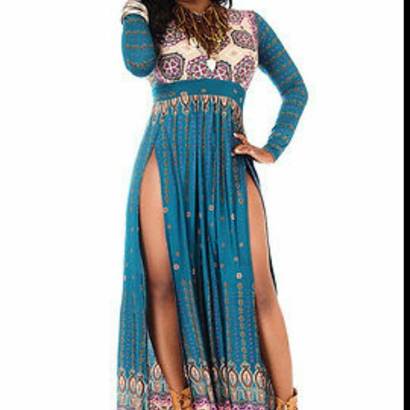 blue dress double slit maxi dress double slit dress long sleeve dress multi color dresses