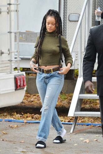sweater cropped sweater slide shoes jeans boyfriend jeans rihanna fall outfits fall sweater shoes
