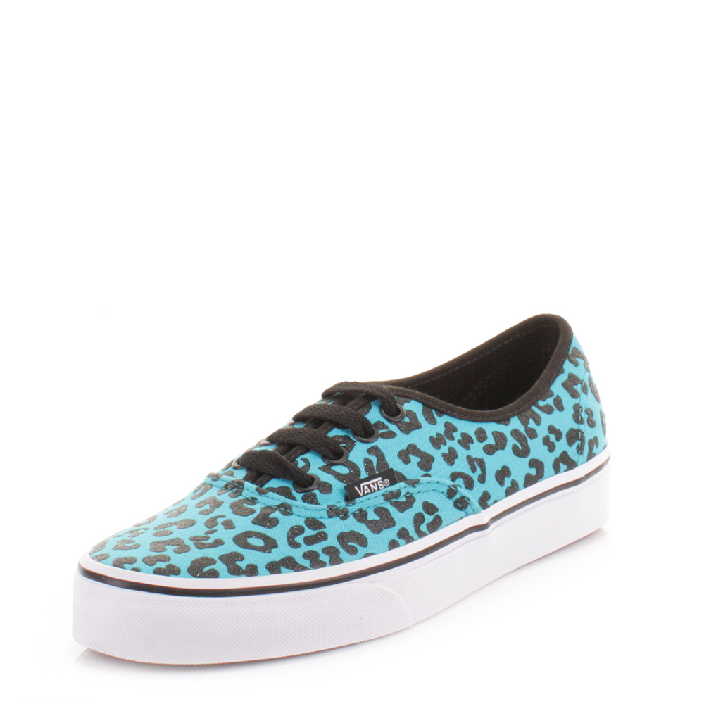 Womens Vans Authentic Cheetah Glitter Peacock Blue Shoes Trainers Size 3 8 | eBay