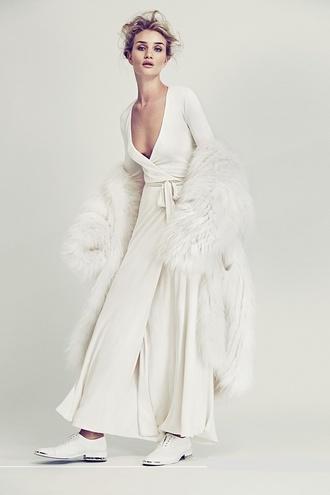dress wrap dress white dress rosie huntington-whiteley
