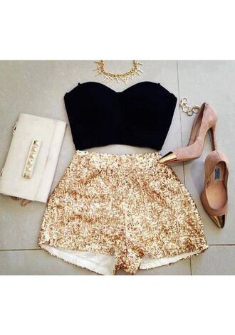 shoes gold sequins shorts crop tops high heels clutch spike necklace top