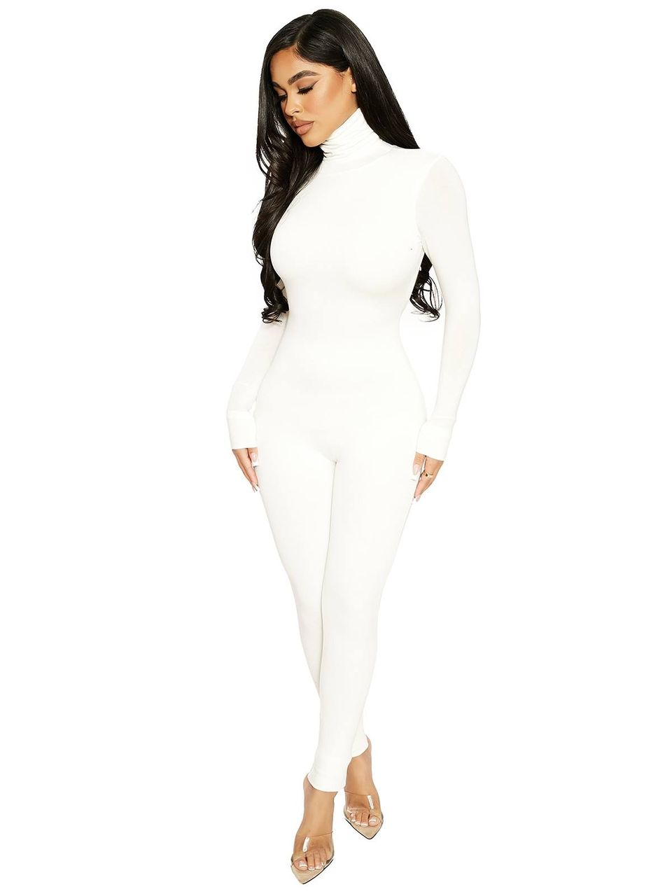 Naked Wardrobe - The NW Zip Me Up Romper (White,One Size)