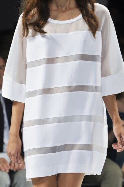 Dress White Oversized Mesh Panels Stripes T Shirt