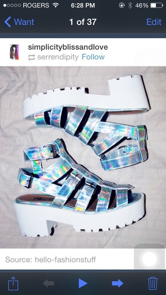 shoes white silver jellies platform shoes buckles gladiators heels vintage cute style summer