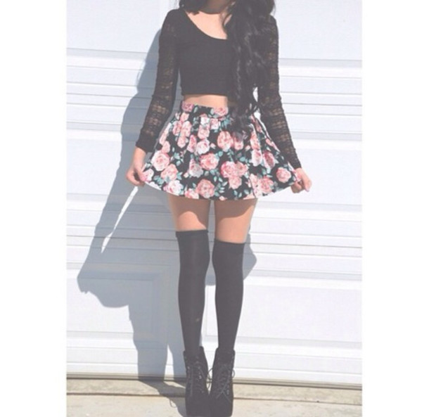shirt floral skirt lace top heels