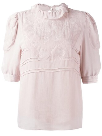 blouse embroidered women purple pink top
