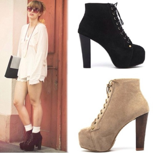 shoes thick heel ankle boots black beige laces sweater statement necklace