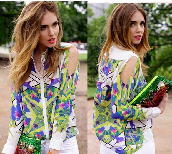 Women Lapel Button Shirt Long Sleeve Floral Print Chiffon Blouse Top Fashion Hot | eBay