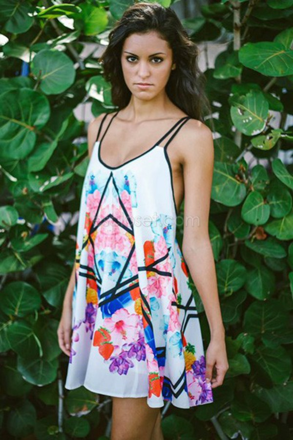 dress colorful pattern patterned dress strappy dress