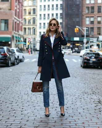 the classy cubicle blogger coat jeans shirt shoes jewels bag sunglasses navy coat brown bag high heel pumps jw anderson bag