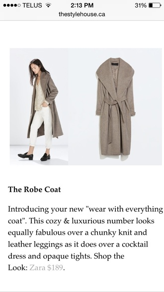 coat zara wool coat with belt taupe robe style