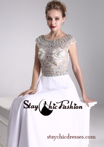 Rhinestone Beaded Sheer Top White Long Scoop Neck Low Back Evening Dress [SC-11] - $192.00 : Prom Dresses On Sale, Semi-formal Dresses Online|StaychicDresses
