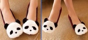 shoes,panda,slippers,lovely,bunny flats,panda flats,bunny,easter,rabbit shoes,flats,cute,fluffy,cute shoes,black and white