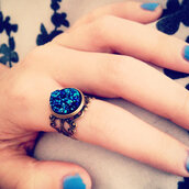 jewels,druzy,ring,blue,boho,handmade,filigree,bronze,drusy,stardust,stars,sparkle,turquoise,blue wedding accessory