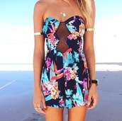 dress,floral,body,girly,romper,floral dress,see through,strapless