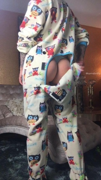 pajamas owl onesies onesie butt owls sexy booty winter outfits white