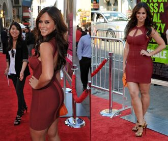 dress jennifer love hewitt red mini stap butt big butt thick sexy red carpet jlh client list burgundy heels thigh high boots cleavage gorgeous victoria's secret
