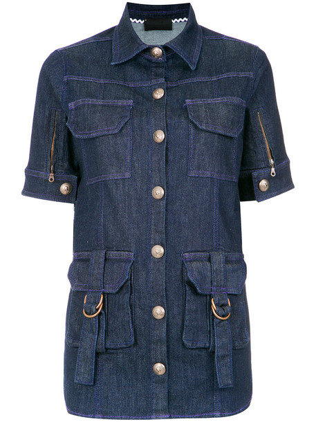 Andrea Bogosian shirt denim shirt denim embroidered women spandex cotton blue top