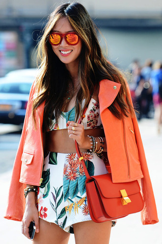 shorts shoes top jacket bag white orange floral sunglasses tank top print summer tropical cute sun