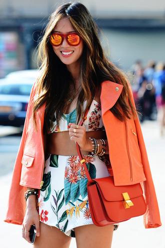 shorts shoes top jacket bag white orange floral sunglasses tank top print summer tropical cute sun