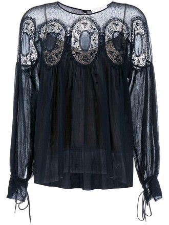blouse women lace cotton blue silk top