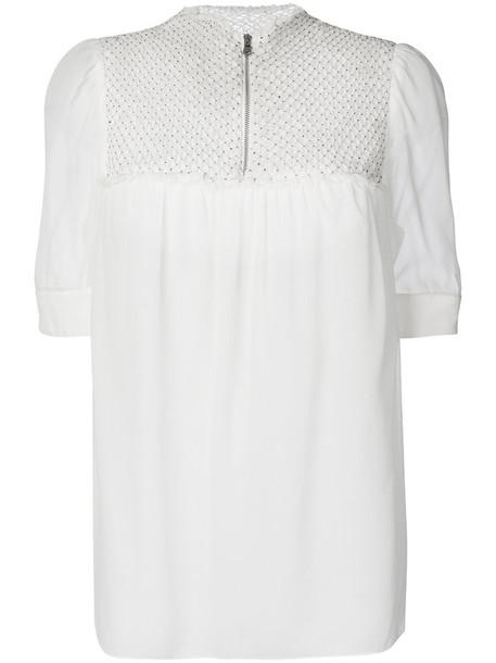 3.1 Phillip Lim - embroidered patch blouse - women - Silk - 6, White, Silk